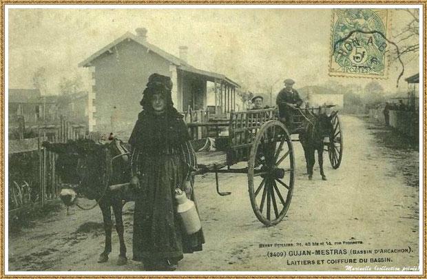 Gujan-Mestras autrefois : En 1905, laitiers et coiffure du Bassin, Bassin d'Arcachon (carte postale, collection privée)