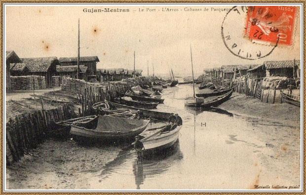 Gujan-Mestras autrefois : Port du Canal  (marqué à tort L'Arros sur la carte), Bassin d'Arcachon (carte postale, collection privée)