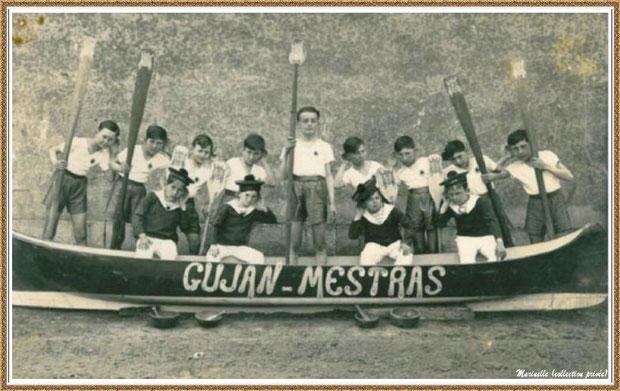 """Gujan-Mestras autrefois :  photo immortalisant la première interprétation de la """"Chanson du Bassin"""" à la salle """"Florida"""", Cours de la République à l'hôtel-restaurant """"Les Pyrénées"""", Bassin d'Arcachon (photo famille, collection privée)"""