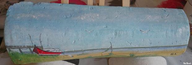 """JLA Artiste Peintre - """"Pinasse rouge au bord d'un quai"""" 044 - Peinture sur tuile ostréicole (Bassin d'Arcachon)"""
