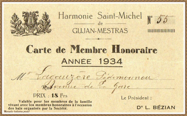 Gujan-Mestras autrefois :  année 1934, Carte de Membre Honoraire de l'Harmonie Saint-Michel, délivrée à mes grand-parents, Bassin d'Arcachon (photo, collection privée)