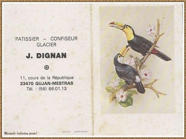 Gujan-Mestras autrefois : en 1982, une carte calendrier du Patissier-Confiseur-Glacier J Dignan (comme en offraient beaucoup de commerçants en fin d'année) disparu il y a quelques années, Bassin d'Arcachon (collection privée)