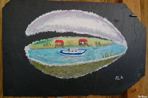 """JLA Artiste Peintre - """"Pinasse bleue et cabanes tchanquées Ile aux Oiseaux"""" 024 - Peinture sur ardoise (Bassin d'Arcachon)"""