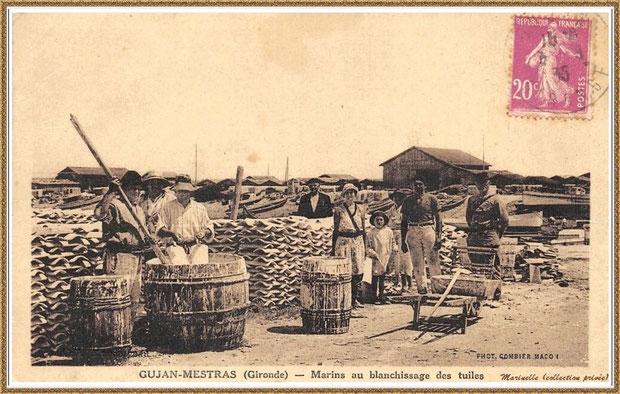 Gujan-Mestras autrefois : en 1935, ostréiculeursau blanchissage des tuiles, Bassin d'Arcachon (carte postale, collection privée)