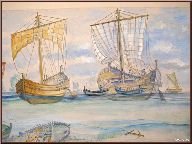 Musée Marc Deydier, village de Cucuron, Lubéron (84) : fresque murale, flotte gallo-romaine