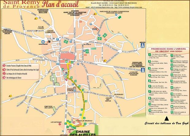 Plan promenade touristique hors du centre ville de Saint Rémy de Provence, Alpilles (13) - plan agrandissable en cliquant dessus