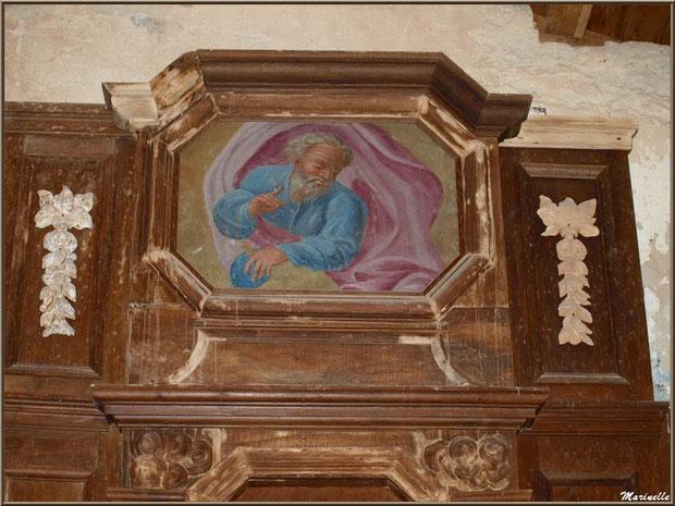 Détail haut central du retable de l'autel de la Vierge, église Saint Pierre de Mons à Belin-Beliet (Gironde)