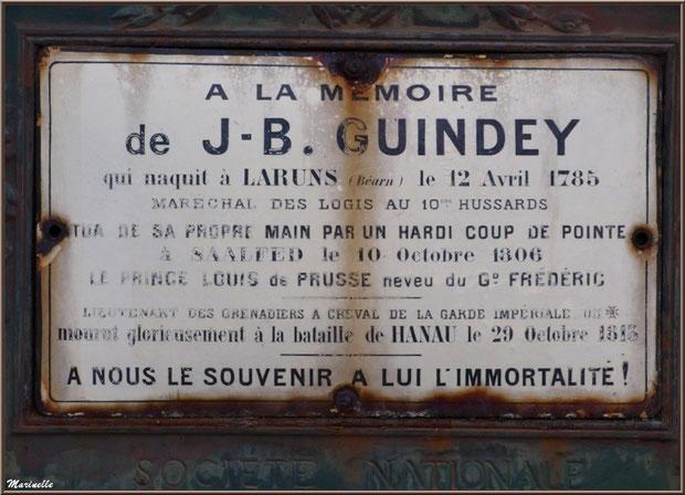 Plaque sur le monument à la mémoire de J.B. Guindey, village de Laruns, Vallée d'Ossau (64)