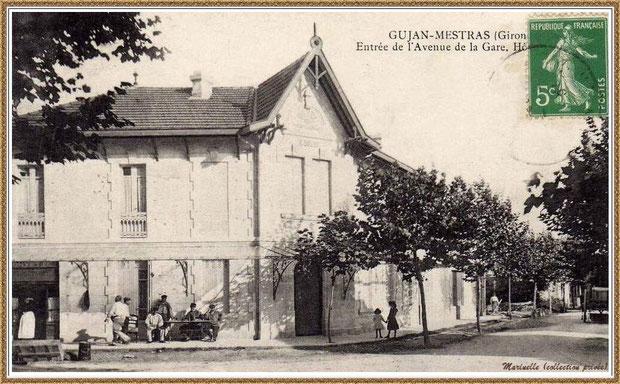 """Gujan-Mestras autrefois : le """"Café-Restaurant-Hôtel Landais"""" (face à la Gare) au temps de Mr et Mme Duluc, Bassin d'Arcachon (carte postale, collection privée)"""