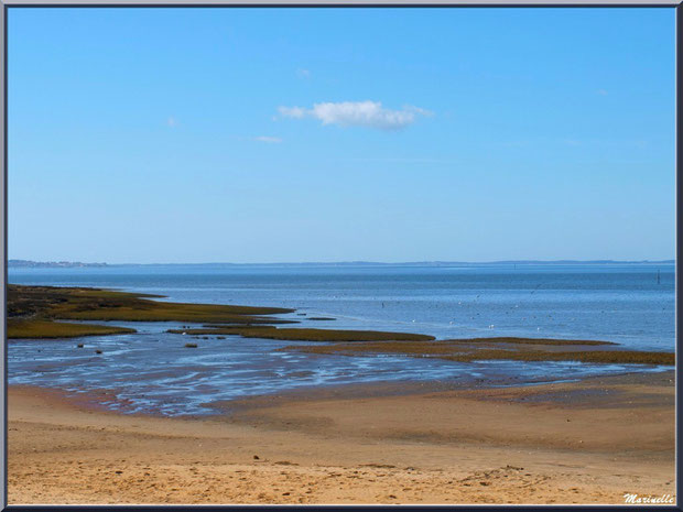 La plage, le Bassin avec en fond, à gauche, Arcachon, Sentier du Littoral, secteur Moulin de Cantarrane, Bassin d'Arcachon