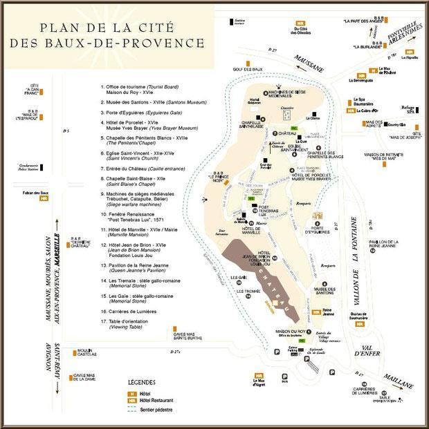 Plan de la cité des Baux-de-Provence, Alpilles (13) - cliquez sur l'image pour agrandir