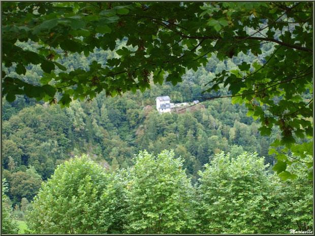 Panorama derrière les arbres depuis les hauteurs du village d'Aas, Vallée d'Ossau (64)