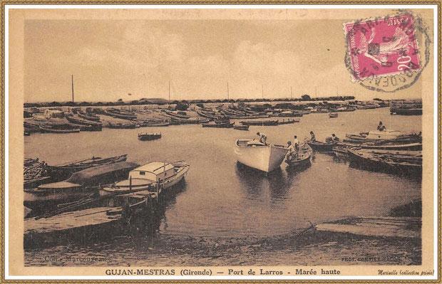 Gujan-Mestras autrefois : vers 1938, la darse principale du Port de Larros, Bassin d'Arcachon (carte postale, collection privée)