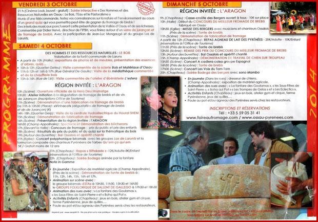 Programme de la Fête au Fromage 2014, Hera deu Hromatge, à Laruns en Vallée d'Ossau (64) - version Français