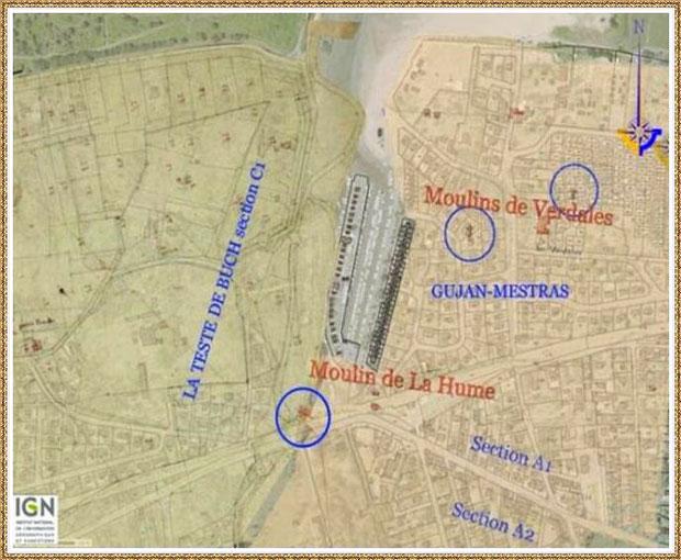 Gujan-Mestras autrefois : carte des anciens moulins de La Hume, Bassin d'Arcachon (carte, collection privée)