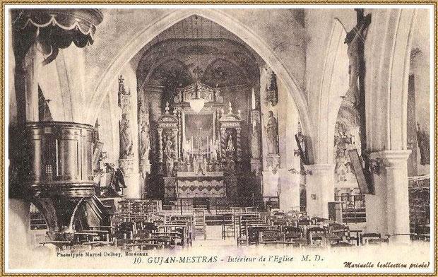 Gujan-Mestras autrefois : en 1909, intérieur de l'Eglise Saint Maurice, Bassin d'Arcachon (carte postale, collection privée)