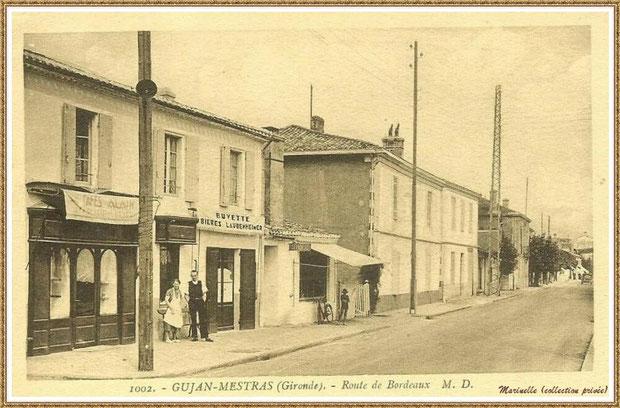 Gujan-Mestras autrefois : Cours de la République (à l'époque, Route de Bordeaux), Bassin d'Arcachon (carte postale, collection privée)