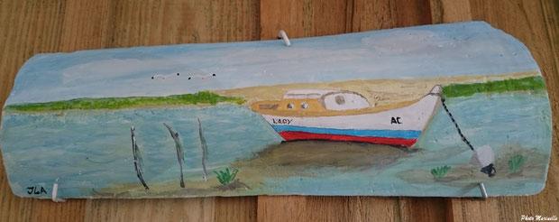 """L'Atelier à JLA - """"Pinasse Lady au large de la Dune du Pyla"""" - Peinture sur tuile ostréicole (Bassin d'Arcachon)"""