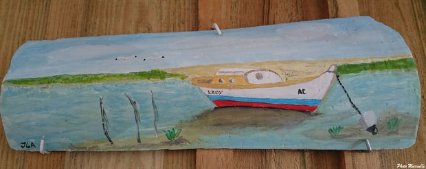 """JLA Artiste Peintre - """"Pinasse Lady au large de la Dune du Pyla"""" 011 - Peinture sur tuile ostréicole (Bassin d'Arcachon)"""