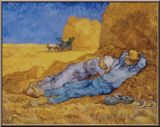 """Tableau """"La méridienne"""" de Van Gogh dans le jardin du monastère de Saint Paul de Mausole à Saint Rémy de Provence (Alpilles - 13)"""