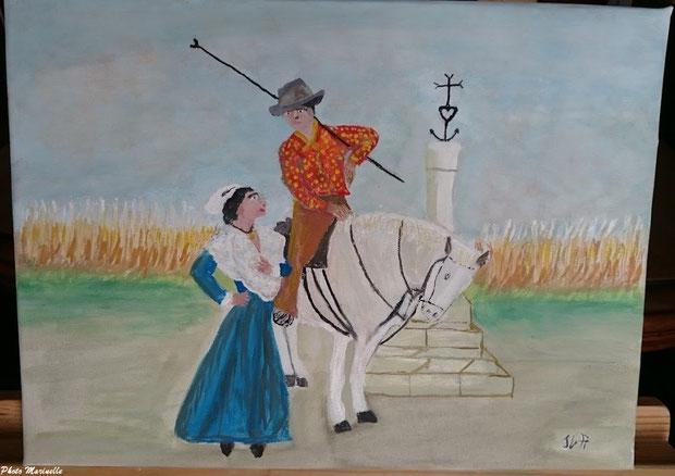 """JLA Artiste Peintre - """"Arlésienne et son gardian"""" Camargue 053 - Peinture sur toile"""
