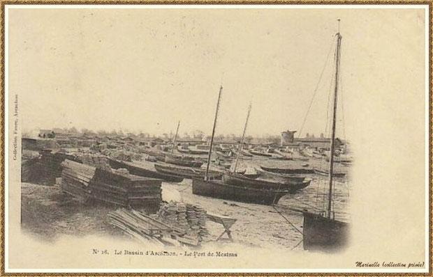 Gujan-Mestras autrefois : La darse principale du Port de Larros (avec le moulin en fond), Bassin d'Arcachon (carte postale, collection privée)