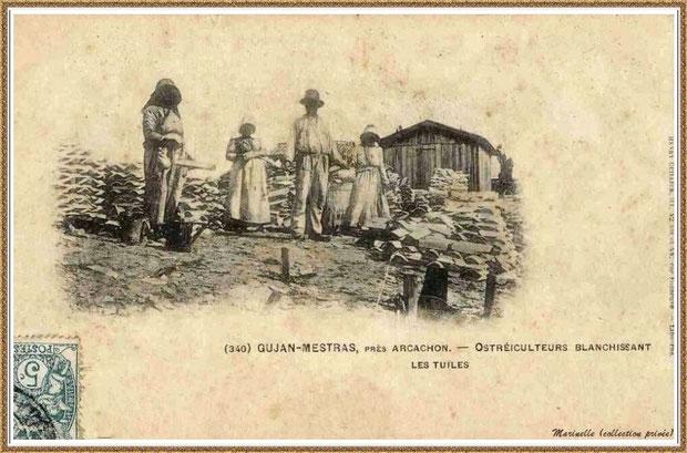 Gujan-Mestras autrefois : en 1903, ostréiculeurs blanchissant les tuiles, Bassin d'Arcachon (carte postale, collection privée)