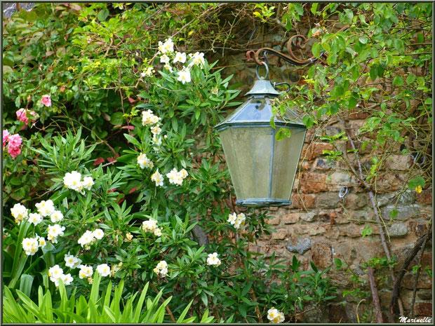 Le Manoir : une lanterne sur un mur d'un bâtiment annexe - Les Jardins du Kerdalo à Trédarzec, Côtes d'Armor (22)