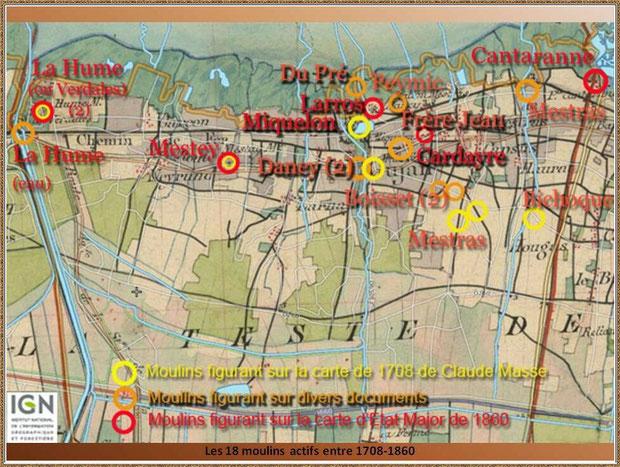 Gujan-Mestras autrefois : carte des 18 moulins actifs entre 1708 et 1860, Bassin d'Arcachon (carte, collection privée)