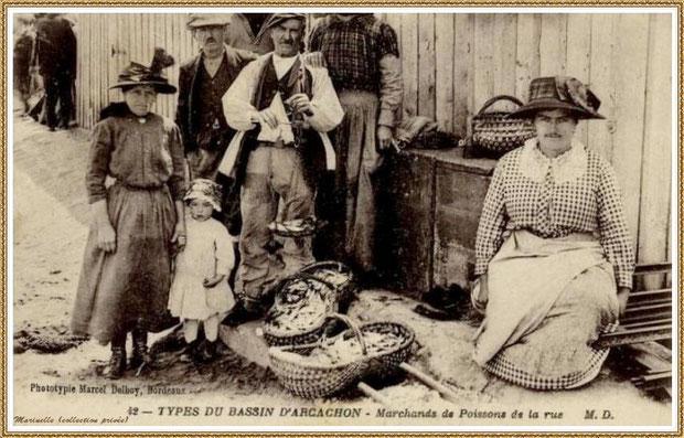 Gujan-Mestras autrefois : Marchande de poissons dans la rue, Bassin d'Arcachon (carte postale, collection privée)