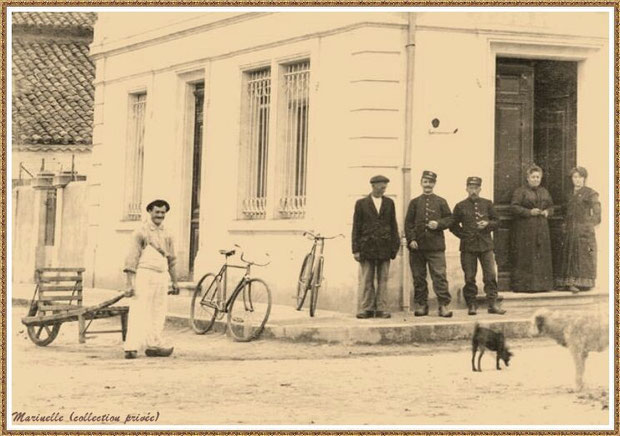 Gujan-Mestras autrefois : En 1924, angle rue Jules Barat et Edmont Daubric, l'ancienne Poste (aujourd'hui Bibliothèque Municipale), Bassin d'Arcachon (carte postale, collection privée)