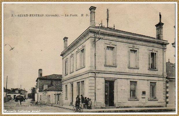 Gujan-Mestras autrefois : angle rue Jules Barat et Edmont Daubric, l'ancienne Poste (aujourd'hui Bibliothèque Municipale), Bassin d'Arcachon (carte postale, collection privée)