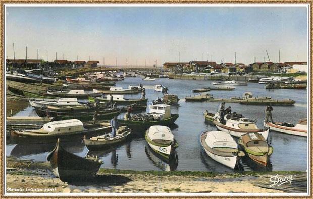 Gujan-Mestras autrefois : en 1948, darse principale du Port de Larros (avec la Jetée du Christ), Bassin d'Arcachon (carte postale - version couleur, collection privée)
