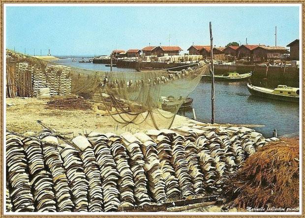 Gujan-Mestras autrefois : tuiles et filets de pêche sur quai dans la darse principale du Port de Larros, Bassin d'Arcachon (carte postale, collection privée)