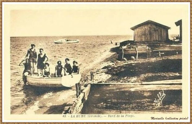 Gujan-Mestras autrefois : Bord de plage au Port de La Hume, Bassin d'Arcachon (carte postale, collection privée)