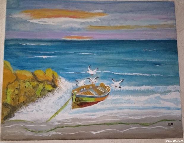 """JLA Artiste Peintre - """"Canot échoué bord de mer et vol mouettes"""" 057 - Peinture sur toile"""