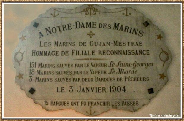 Gujan-Mestras autrefois : ex-voto de 1904 à Notre-Dame des Marins à l'intérieur de l'Eglise Saint Maurice, Bassin d'Arcachon (carte postale, collection privée)