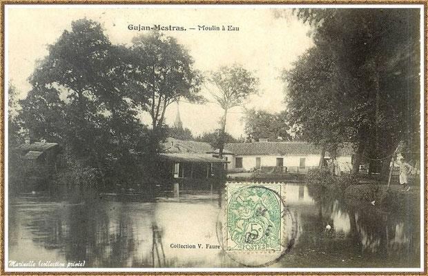 """Gujan-Mestras autrefois : en 1907, le Moulin à eau Daney et le lavoir au lieu-dit """"Bruge"""" , Bassin d'Arcachon (carte postale, collection privée)"""