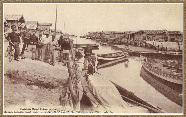 Gujan-Mestras autrefois : Port du Canal et pinassottes de pêche, Bassin d'Arcachon (carte postale, collection privée)