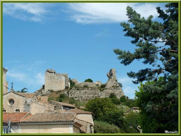 Sur l'éperon rocheux, les ruines du château du Duc de Guise, village d'Orgon, entre Alpilles et Lubéron (13)