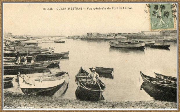 Gujan-Mestras autrefois : en 1915, la darse principale du Port de Larros, Bassin d'Arcachon (carte postale, collection privée)
