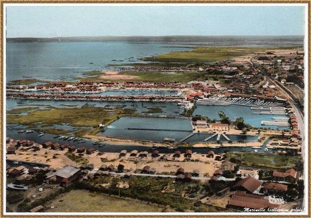 Gujan-Mestras autrefois : Vue aérienne avec l'ancienne Huîtrerie Daycard, les anciens réservoirs, les Ports de Gujan (Passserelle) et de Larros, Bassin d'Arcachon (carte postale, collection privée)