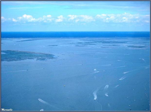 Le Bassin, ses parcs à huîtres, ses bateaux... Bassin d'Arcachon (33) vu du ciel