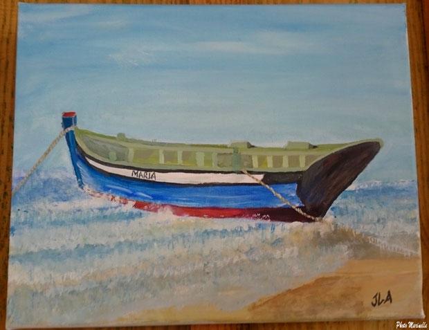 """JLA Artiste Peintre - """"Barque Maria en bordure de plage"""" 042 - Peinture sur toile"""