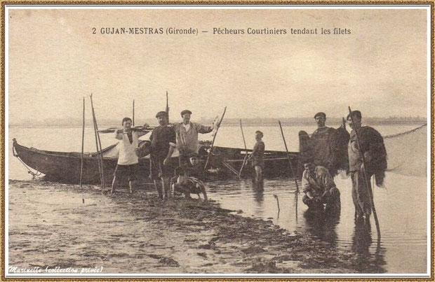 Pêcheurs tendant les filets en 1907 à Gujan-Mestras, Bassin d'Arcachon (33)