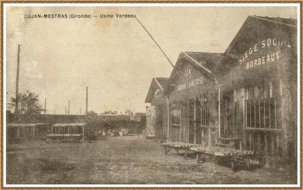 """Gujan-Mestras autrefois : Usine-Conserverie Verdeau """"La Sardine Française"""", Bassin d'Arcachon (carte postale, collection privée)"""
