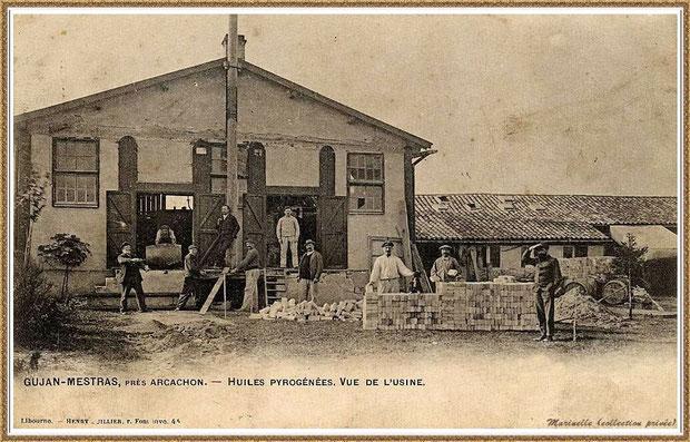 Gujan-Mestras autrefois : Vue de l'usine d'huiles pyrogénées, inexistante de nos jours (carte postale, collection privée)
