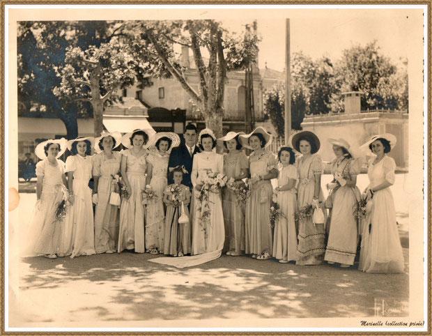 Gujan-Mestras autrefois : vers 1946, une photo de mariage avec les mariés, les enfants et les demoiselles d'honneur dont ma maman à droite de la mariée, Bassin d'Arcachon (photo de famille, collection privée)