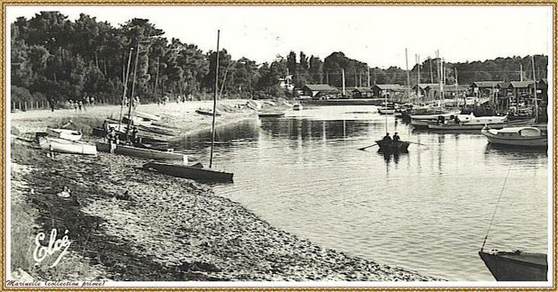 Gujan-Mestras autrefois : le Port de La Hume, Bassin d'Arcachon (carte postale, collection privée)
