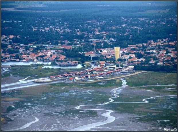 Gujan Mestras avec son port de La Passerelle, la marina Ostrea Edulis et son château d'eau, ses Ports de la Passerelle et Larros, Bassin d'Arcachon (33) vu du ciel
